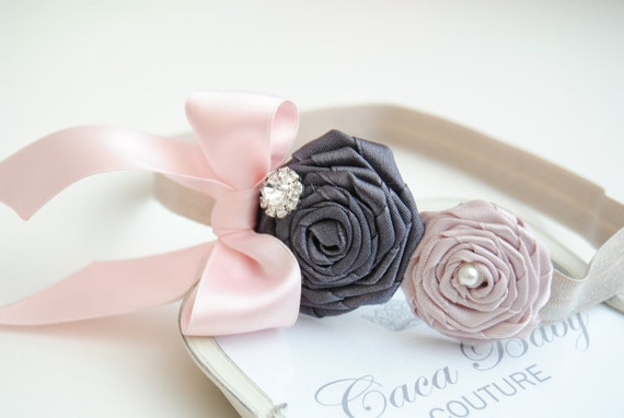 Pastel  Colored Flowers with Elastic Hadband and Rhinestone