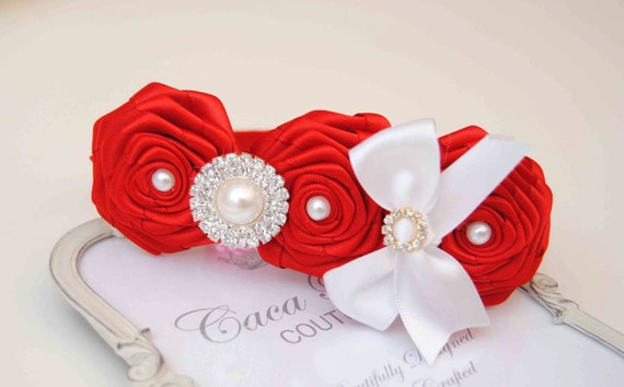 Red Roses with Red  Elastic Hadband and Rhinestones White Bow