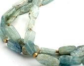 Kyanite Necklace with Gold Accents and Hammered Chain