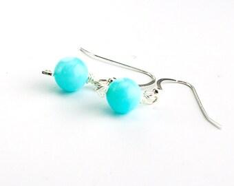 Blue Peruvian Opal Earrings