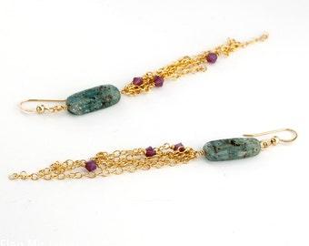 Shoulder Duster Kyanite and Swarvoski Crystal Earrings - Kyanite and Gold Chain Amethyst Swarvoski Crystal Long Earrings Attention Grabbing
