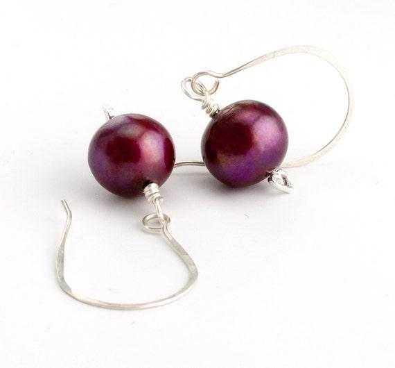 Black Cherry Pearl Earrings in Sterling Silver Burgandy Freshwater Pearl Earrings Handcrafted Artisan Earwires
