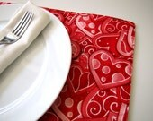 Pair of Reversible Placemats: Valentine Hearts and Polka Dots
