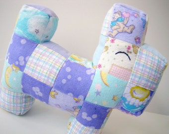 Baby Patchwork Scottie Dog: Baby Flannel in Purple, Teal and Yellow