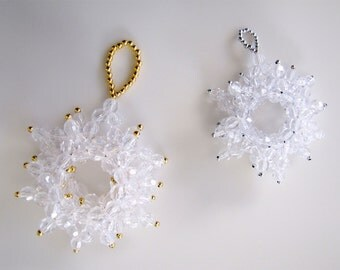 Small Snowflake Beaded Ornament: Crystal Clear with Silver Beads