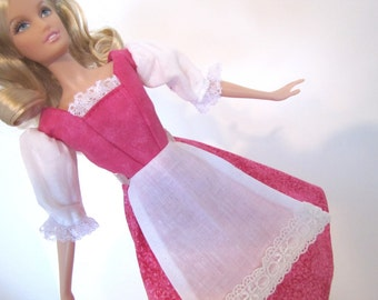 Barbie Peasant dress: Magenta Calico with Pink Bodice