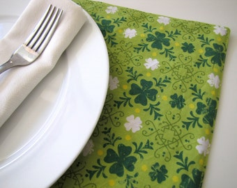 Pair of Reversible Placemats: St. Patrick's Clover and Irish Green Plaid