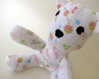 Cuddle Bug white flannel Teddy Bear with pink bugs and flowers