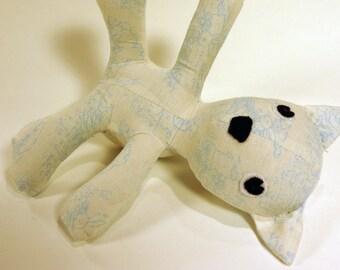 Azure Blue Bunny Toile baby teddy bear