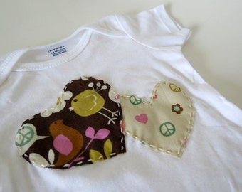 Tweet Tweet Love & Peace Onesie with 2 Hearts: 6-9 months white short sleeve