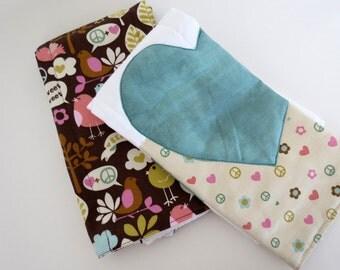 Tweet Tweet Love & Peace baby burp rags or burp cloths