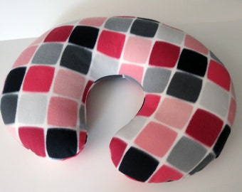 Geometric Pink, Grey and Black baby Boppy cover or nursing pillow cover