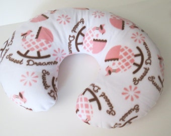Sweet Dreams in Pink and Chocolate baby Boppy cover or nursing pillow cover