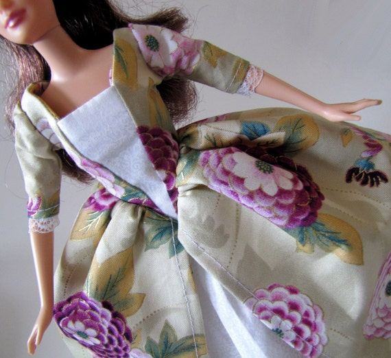 Barbie Dress: Purple Chrysanthemum with Gold Accents