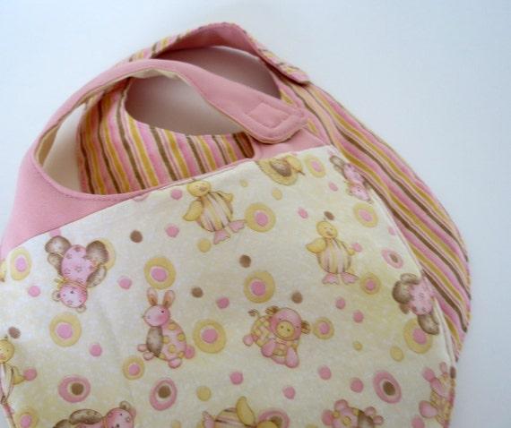 Butter Cream And Pink Nursery Animals Reversible Baby Bibs