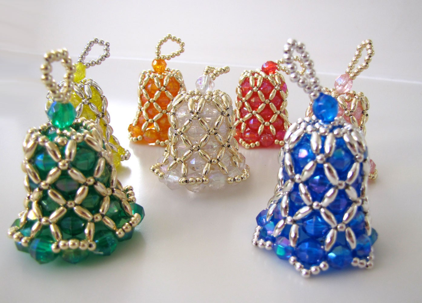special order beaded bell ornaments in by creativetradition