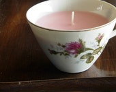White Tea and Berries Scented Soy Rose Teacup Candle