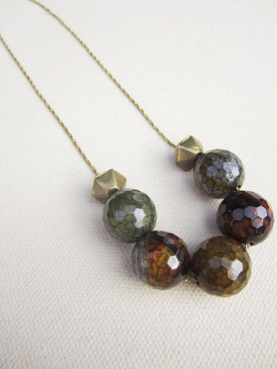 La Bohéme Color Shift Necklace featuring faceted Dragon Vein Agate