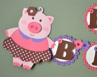 Pink Girl Pig Birthday Party BANNER or Baby Shower Decorations, Farm, Barnyard  - 2-D - CUSTOM Message (20 letters)