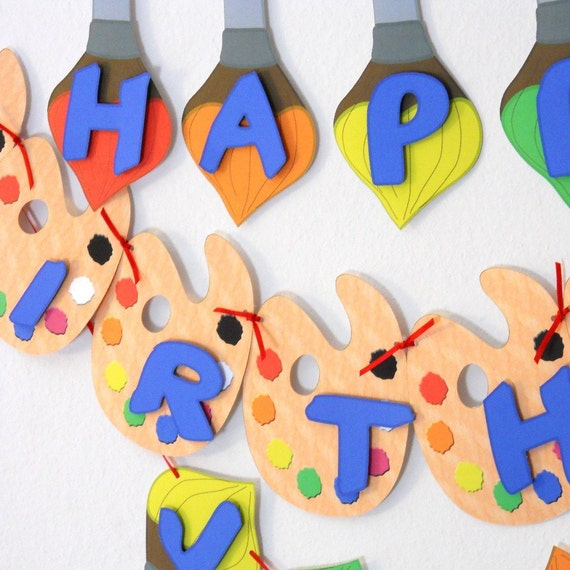 Art Birthday Party BANNER. Painting Birthday Banner Custom