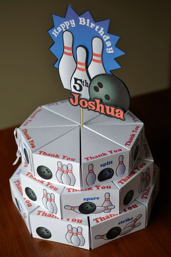 Bowling Birthday Cake Party Favors Box with 3-D Cake Topper - CUSTOM Name and Age - 24 boxes