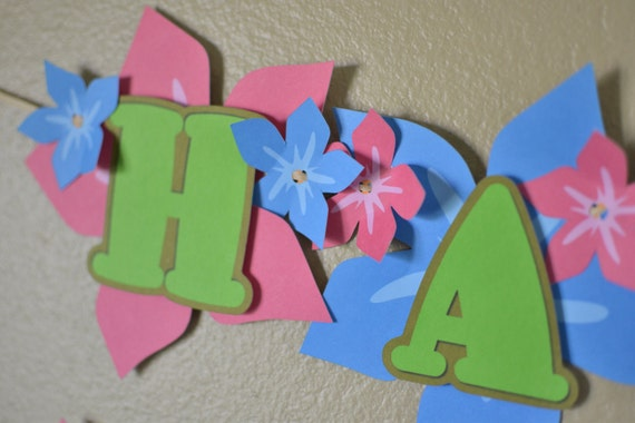 Luau Birthday Party, Luau Bridal Shower, Luau Baby Shower - BANNER 2-D - CUSTOM Message (20 letters)