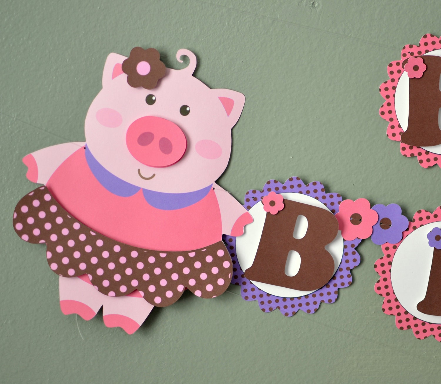 Pink Girl Pig Birthday Party BANNER or Baby Shower
