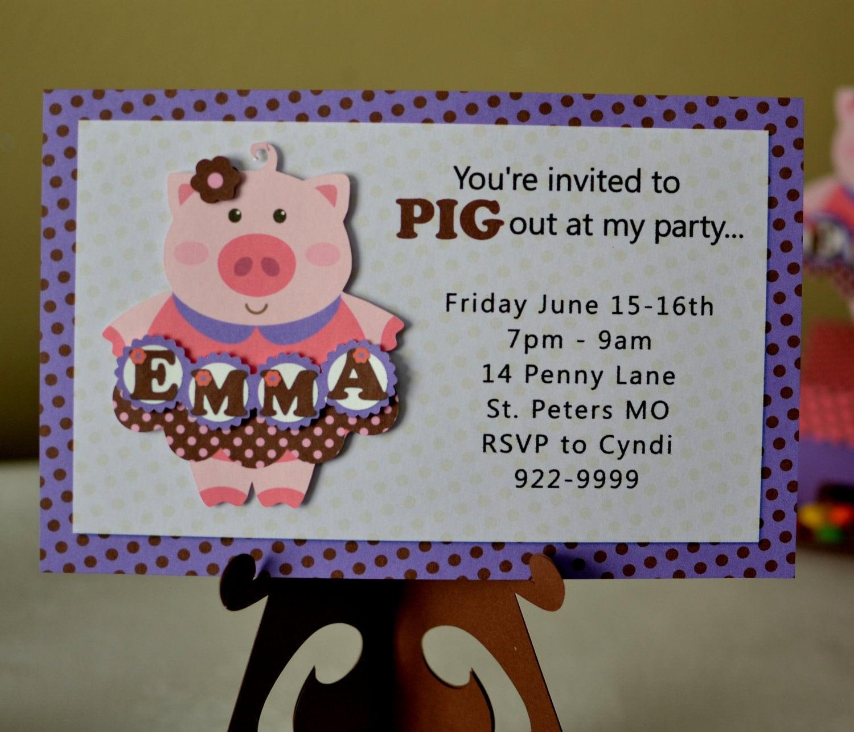 Pig Birthday Invitation Baby Shower Invitation Farm – Pig Birthday Party Invitations