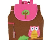 SHIPS NEXT DAY--Personalized Monogrammed Stephen Joseph Quilted Toddler Owl and Tree Girl Backpack--Free Monogramming--