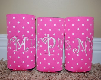 Monogrammed Custom Polka Dot Water Bottle or Tall Boy Cooler Insulator all 6 colors instock --FAST TURNAROUND--
