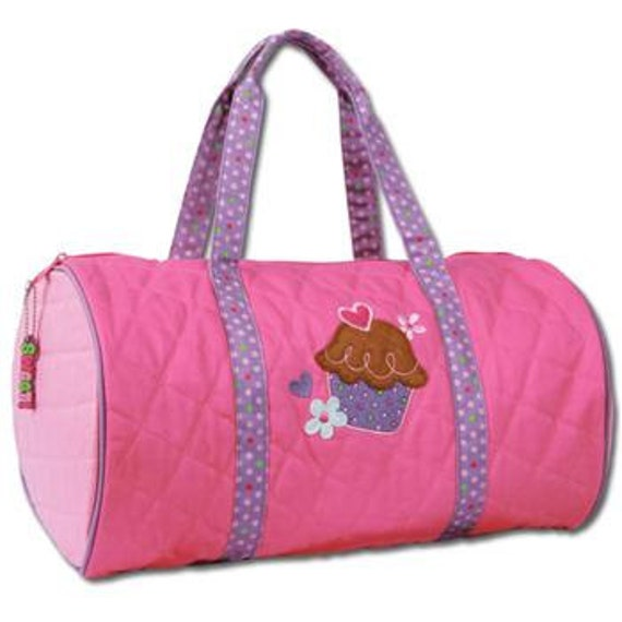 SHIPS NEXT DAY--Personalized Monogrammed Stephen Joseph Quilted Cupcake Duffle Bag Travel Tote Bag --Free Monogramming--