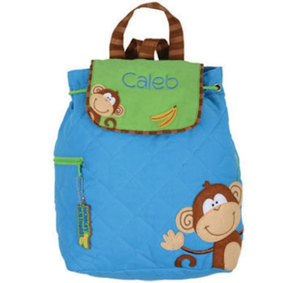 SHIPS NEXT DAY--Personalized Monogrammed Stephen Joseph Quilted Boy Monkey Backpack--Free Monogramming--