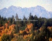 Olympic Mountains in Washington State in Fall Digital Watercolor 8x10 Print