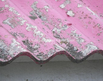 Weathered and Worn Red Metal Roof Photograph