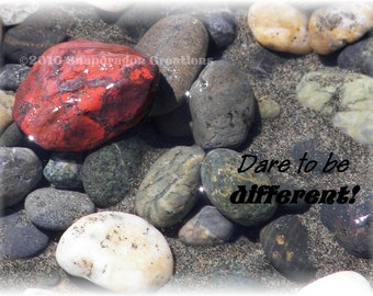 Red Rock with the Saying Dare To Be Different 5x7 Print