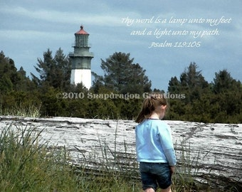 Girl and Lighthouse at Westport Washington with Psalm 5x7 Digital Print