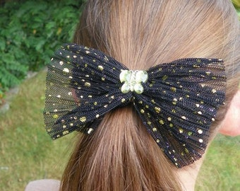 Butterfly Hair Clip Shiny Green Dotted Black Tulle