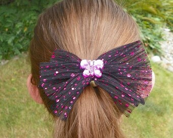 Butterfly Hair Clip Shiny Pink Dotted Black Tulle