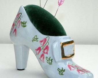 Handmade Pincushion, Repurposed Shoe Figurine with Velveteen Top