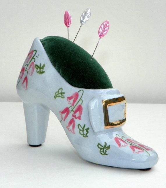 Handmade Pincushion, Repurposed Shoe Figurine with Velveteen Top