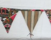 Farm Bunting Banner Decoration Country Kitchen COPPER Bells Fabric 15 Flags Garland  & Wind Chime 12 Feet Re-Usable.