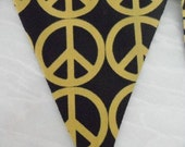 Teen Bedroom Decoration Metallic Gold PEACE Sign Fabric Bunting Banner 13 Flags Garland 9 Feet Re-Usable.