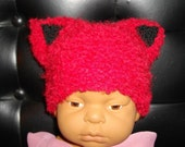 Kitty Cat Beanie Vegan Hat Red with Black Ears Hand Knit Newborn Baby or Doll Size