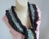 Scarf Vegan Knit Glitter Eyelash Ruffled Striped Evening In Paris Gift For Her