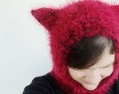 Kitty Hat Little Red Riding Hood Balaclava Cat Ears Hand Knit