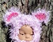 Doll Newborn Baby Hat Animal Ear Costume Furry Purple Critter