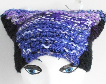 Zazzy Cat Ears Hat Vegan Hand Knit Purple Black Beanie Youth Large to Adult Size