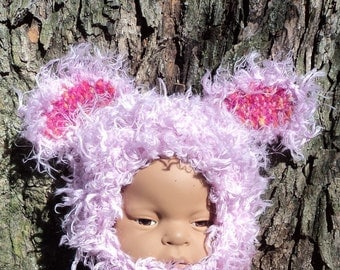 Doll Newborn Baby Hat Animal Ear Costume Furry Purple Critter