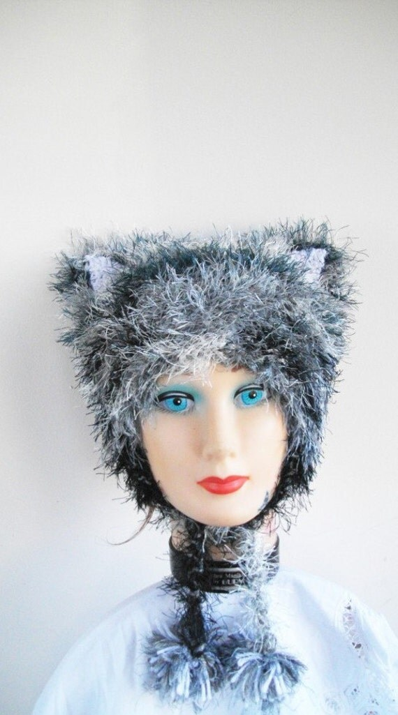 Kitty Cat Hat Vegan Tiger Stripes Knit Furry Ears Earflaps PomPom Ties Toddler Kids Size