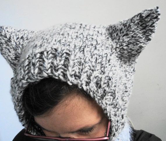 Knitting Pattern Hood With Ears : Kitty Cat Ears Knit Hat Balaclava Hood Adult Large by ...